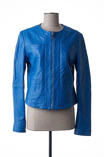 Veste en cuir bleu ARMANI pour femme