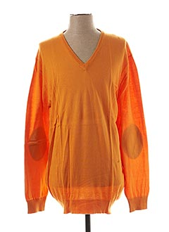 Pull col V orange HACKETT pour homme
