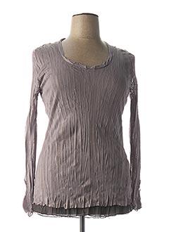T-shirt manches longues marron FRED SABATIER pour femme