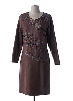 Robe mi-longue marron GUY DUBOUIS pour femme