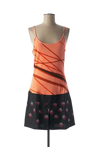 Robe mi-longue orange CUSTO pour femme