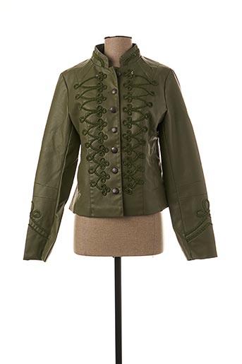 Veste simili cuir vert SOFTY pour femme