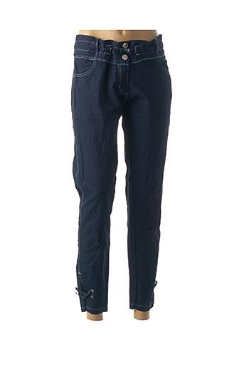 Pantalon 7/8 bleu CATY LESCA pour femme