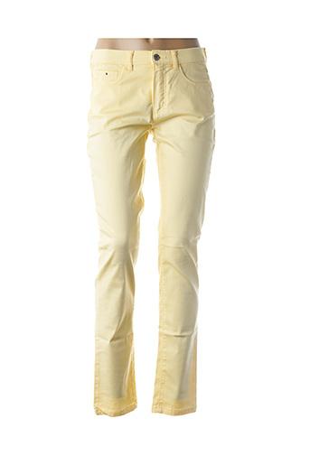Pantalon casual jaune BRUNO SAINT HILAIRE pour femme