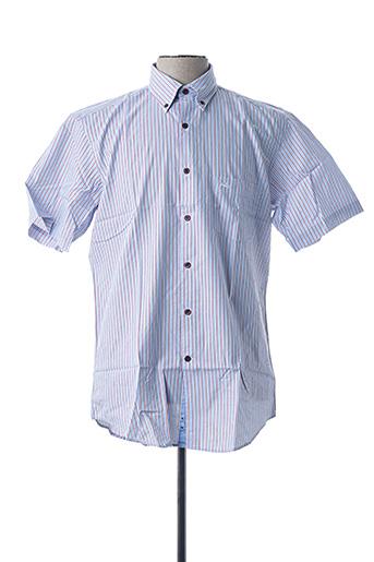 Chemise manches courtes bleu BRUNO SAINT HILAIRE pour homme