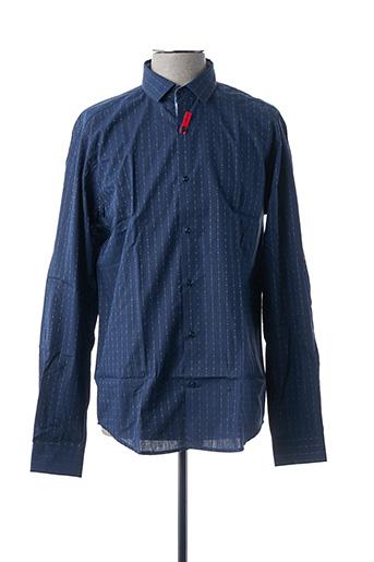 Chemise manches longues bleu BRUNO SAINT HILAIRE pour homme