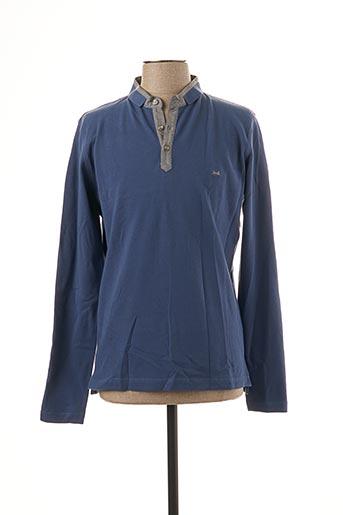 Polo manches longues bleu BRUNO SAINT HILAIRE pour homme