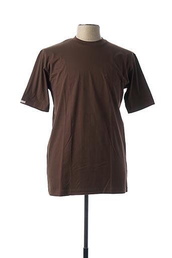 T-shirt manches courtes marron DANIEL HECHTER pour homme