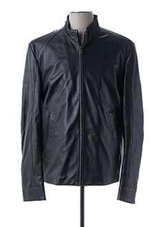 Veste en cuir noir HUGO BOSS pour homme