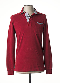 Polo manches longues rouge DELAHAYE pour homme