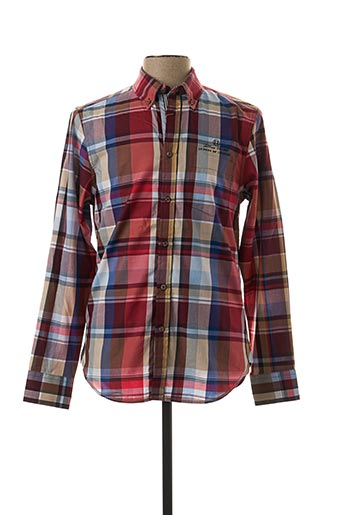 Chemise manches longues rouge FELLOWS pour homme