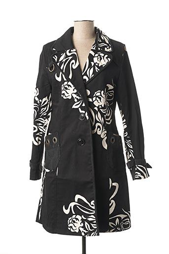 Manteau long noir CHESHIRE pour femme