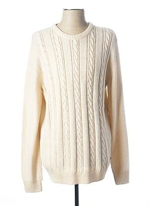 Pull col rond beige TOM TAILOR pour homme
