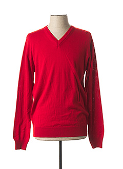 Pull col V rouge QUADRO pour homme