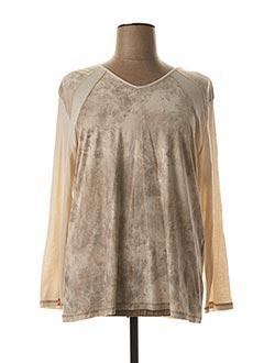 T-shirt manches longues beige CLAUDE DE SAIVRE pour femme