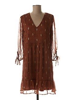 Robe mi-longue marron GRACE & MILA pour femme