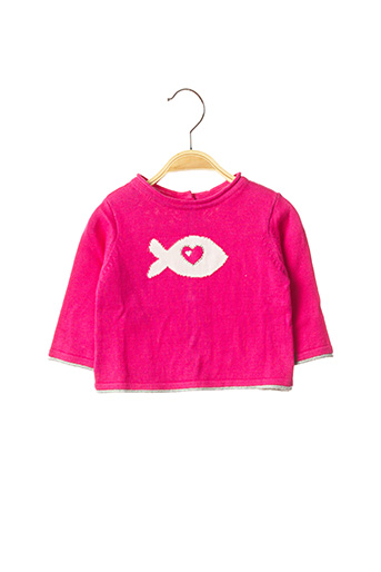 Pull col rond rose WEEK END A LA MER pour fille