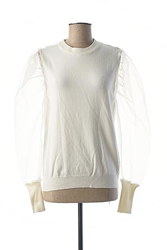 Pull col rond blanc EXQUISS'S pour femme