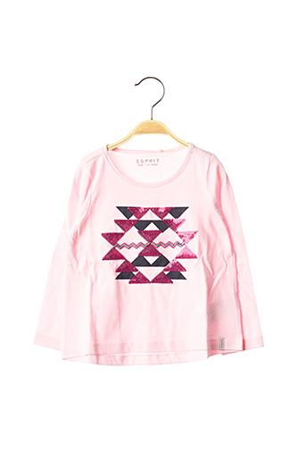 T-shirt manches longues rose ESPRIT pour fille