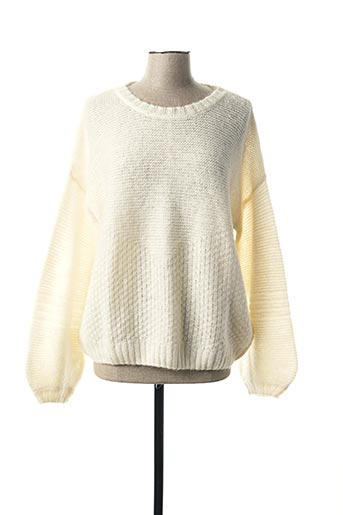 Pull col rond blanc MY SUNDAY MORNING pour femme