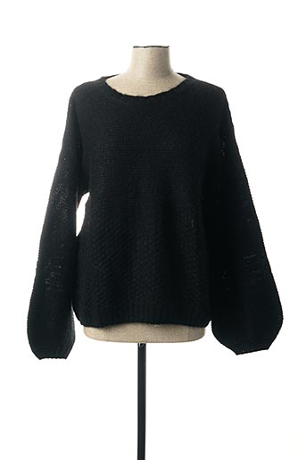 Pull col rond noir MY SUNDAY MORNING pour femme