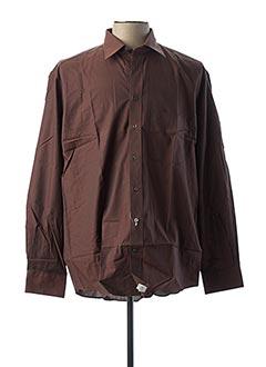 Chemise manches longues marron REDFORD pour homme