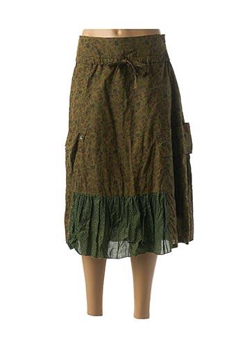 Jupe mi-longue vert NID D'ABEILLE pour femme