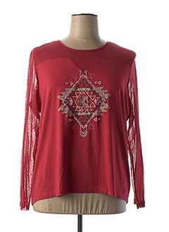 T-shirt manches longues rouge PAUSE CAFE pour femme