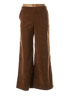 Pantalon chic marron BLANC BOHEME pour femme