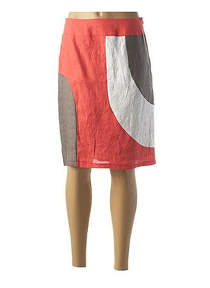 Jupe mi-longue orange MULTIPLES pour femme