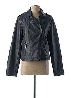 Veste simili cuir bleu PHILDAR pour femme