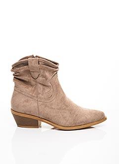 Bottines/Boots beige C'M PARIS pour femme