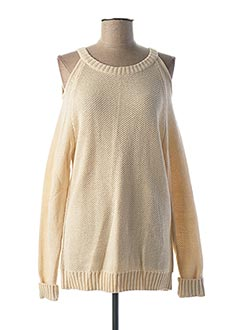 Pull col rond beige GEISHA pour femme