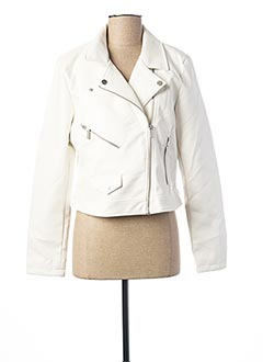 Veste simili cuir blanc ONLY pour femme
