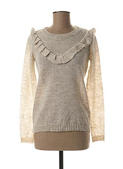 Pull col rond beige KANOPE pour femme