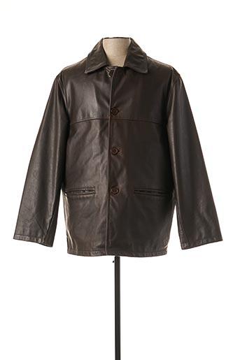 Veste en cuir marron PEAU D'ANE pour homme