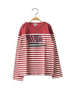 T-shirt manches longues rouge NANO & NANETTE pour garçon