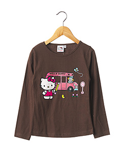 T-shirt manches longues marron HELLO KITTY pour fille