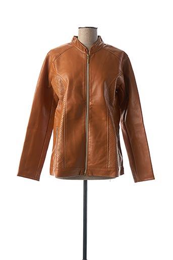 Veste simili cuir orange ATLAS pour femme