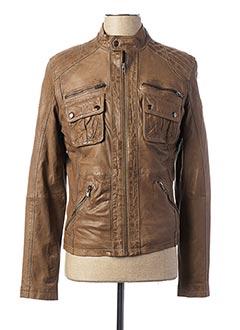Veste en cuir marron SERGE PARIENTE pour homme