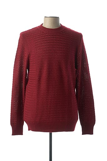 Pull col rond rouge BILL TORNADE pour homme