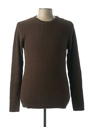 Pull col rond marron RWD pour homme