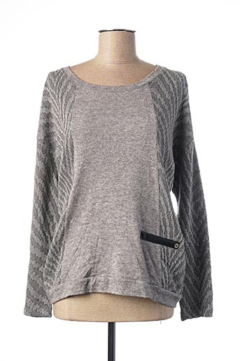 Pull col rond gris ANDAMIO pour femme