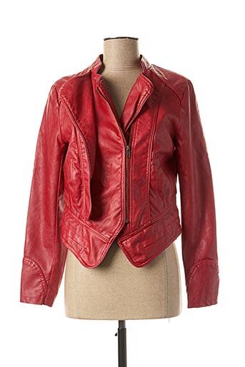 Veste simili cuir rouge LESLIE pour femme