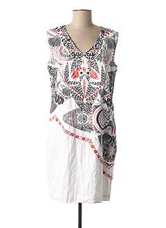 Robe mi-longue blanc AVENTURES DES TOILES pour femme