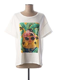 T-shirt manches courtes blanc 1 2 3 pour femme