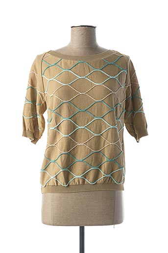 Pull col rond beige TRICOT CHIC pour femme