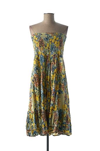 Robe mi-longue jaune DRESS ADDICT pour femme
