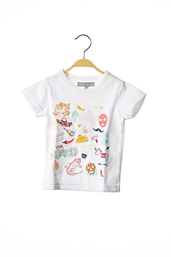 T-shirt manches courtes blanc MILK ON THE ROCKS pour fille
