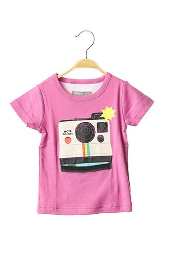 T-shirt manches courtes rose MILK ON THE ROCKS pour fille